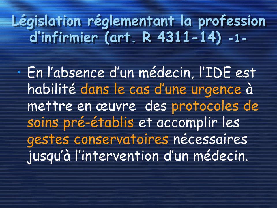 Législation réglementant la profession dinfirmier (art. R 4311-14) -1- En labsence dun médecin, lIDE est habilité dans le cas dune urgence à mettre en