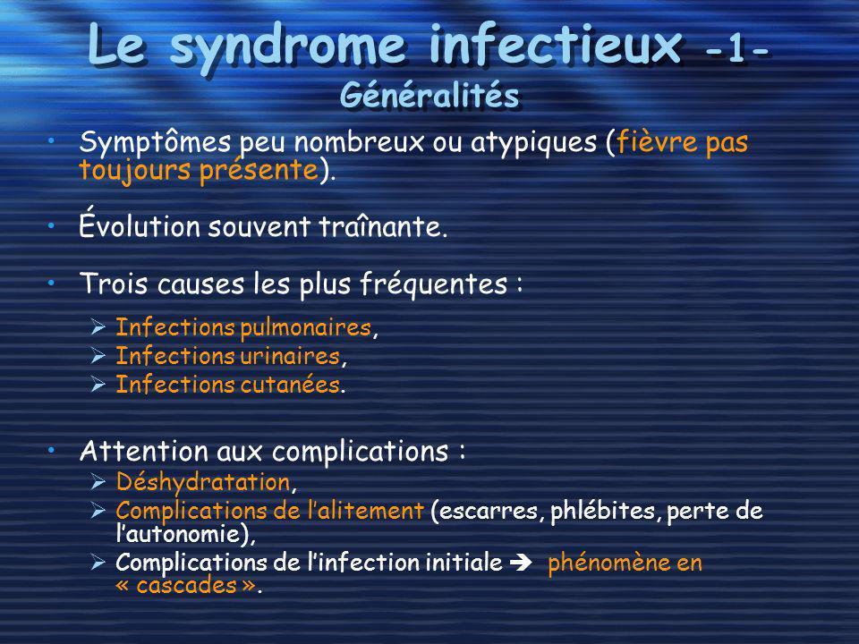 Le syndrome infectieux -1- Généralités Symptômes peu nombreux ou atypiques (fièvre pas toujours présente). Évolution souvent traînante. Trois causes l