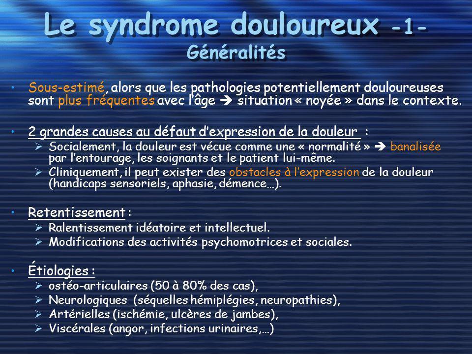 Le syndrome douloureux -1- Généralités Sous-estimé, alors que les pathologies potentiellement douloureuses sont plus fréquentes avec lâge situation «