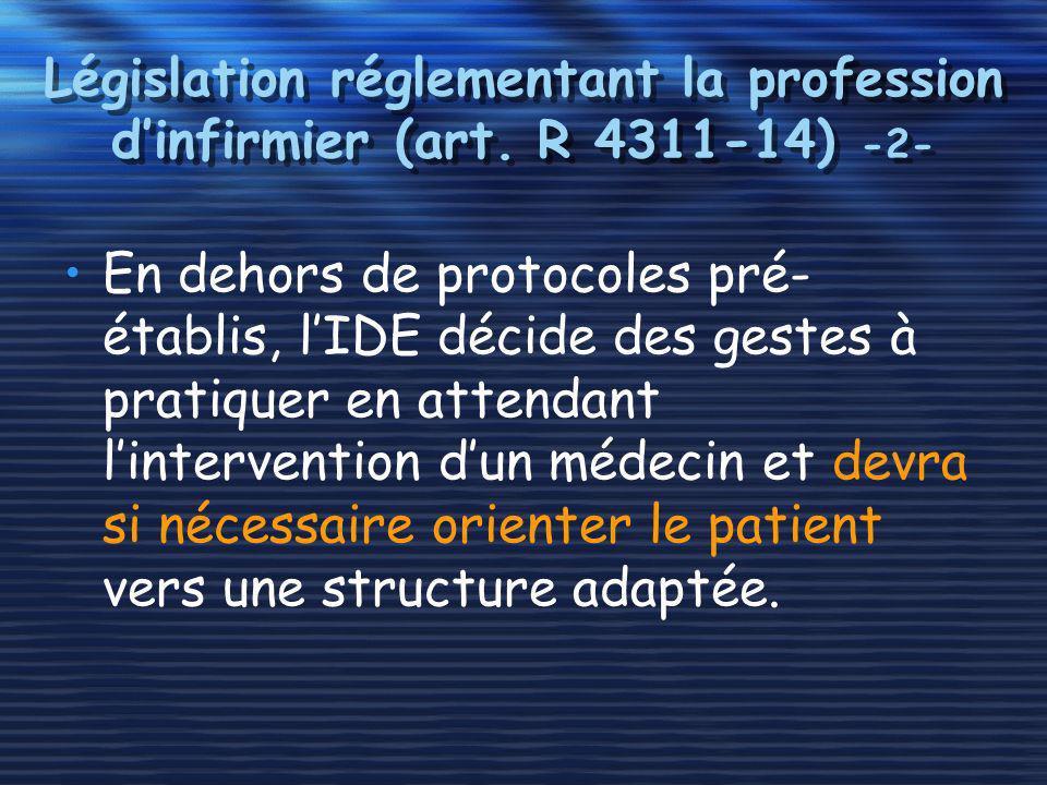 Législation réglementant la profession dinfirmier (art. R 4311-14) -2- En dehors de protocoles pré- établis, lIDE décide des gestes à pratiquer en att
