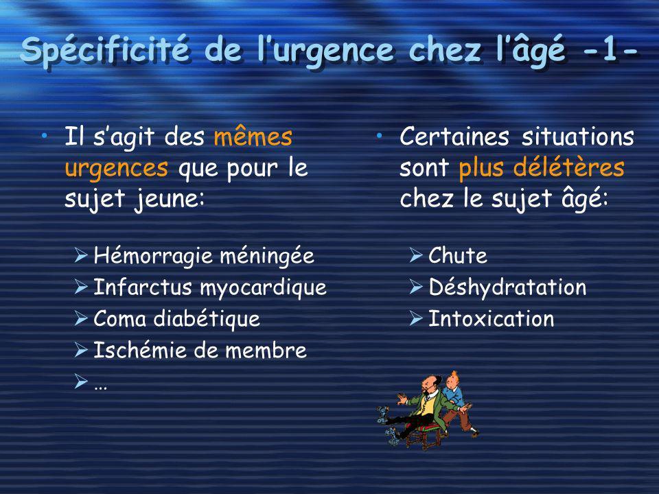 Spécificité de lurgence chez lâgé -1- Il sagit des mêmes urgences que pour le sujet jeune: Hémorragie méningée Infarctus myocardique Coma diabétique I