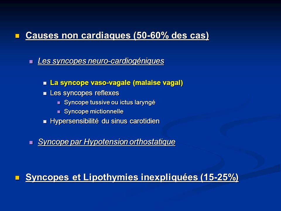 Causes non cardiaques (50-60% des cas) Causes non cardiaques (50-60% des cas) Les syncopes neuro-cardiogéniques Les syncopes neuro-cardiogéniques La s