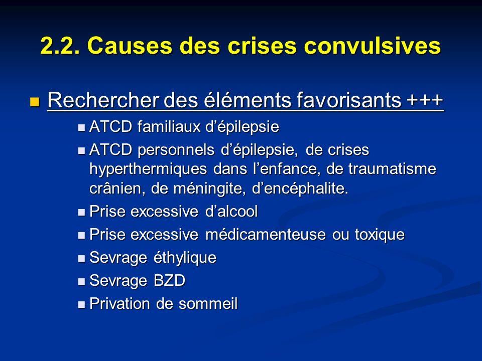 2.2. Causes des crises convulsives Rechercher des éléments favorisants +++ Rechercher des éléments favorisants +++ ATCD familiaux dépilepsie ATCD fami