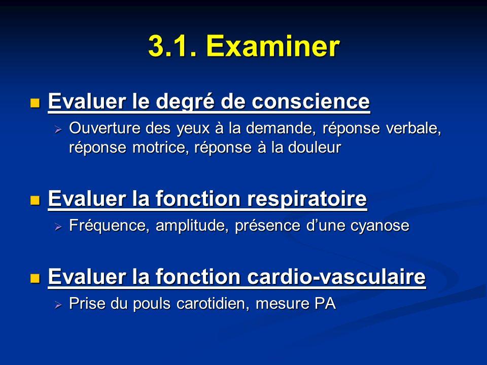 3.1. Examiner Evaluer le degré de conscience Evaluer le degré de conscience Ouverture des yeux à la demande, réponse verbale, réponse motrice, réponse