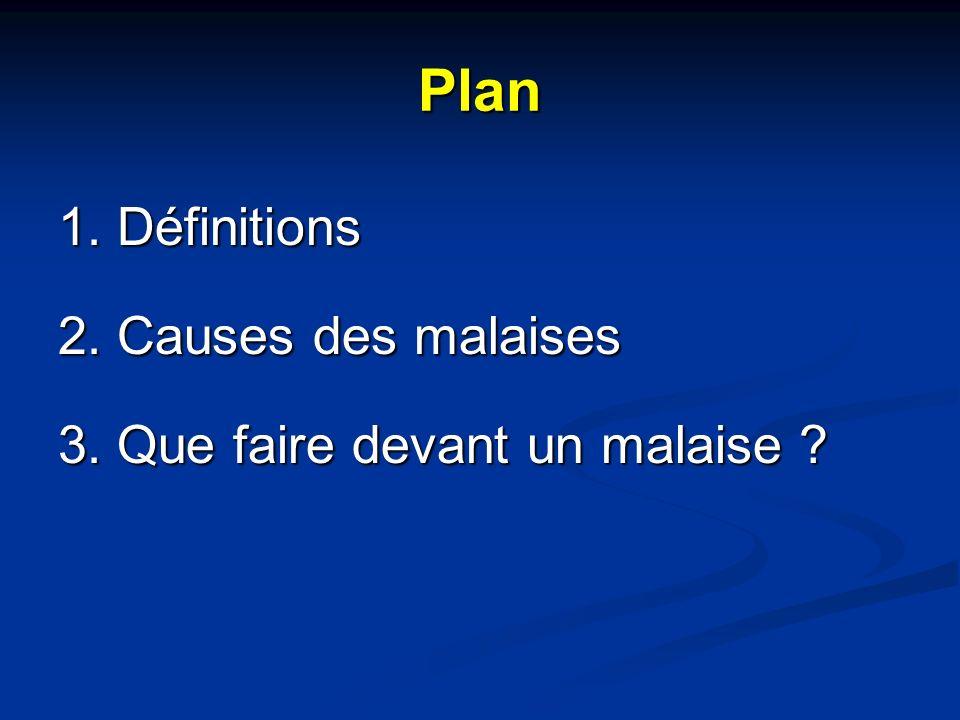 Plan 1. Définitions 2. Causes des malaises 3. Que faire devant un malaise ?