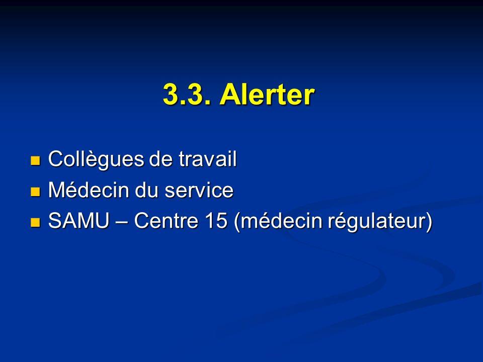 3.3. Alerter Collègues de travail Collègues de travail Médecin du service Médecin du service SAMU – Centre 15 (médecin régulateur) SAMU – Centre 15 (m