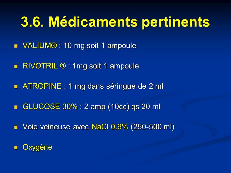 3.6. Médicaments pertinents VALIUM® : 10 mg soit 1 ampoule VALIUM® : 10 mg soit 1 ampoule RIVOTRIL ® : 1mg soit 1 ampoule RIVOTRIL ® : 1mg soit 1 ampo
