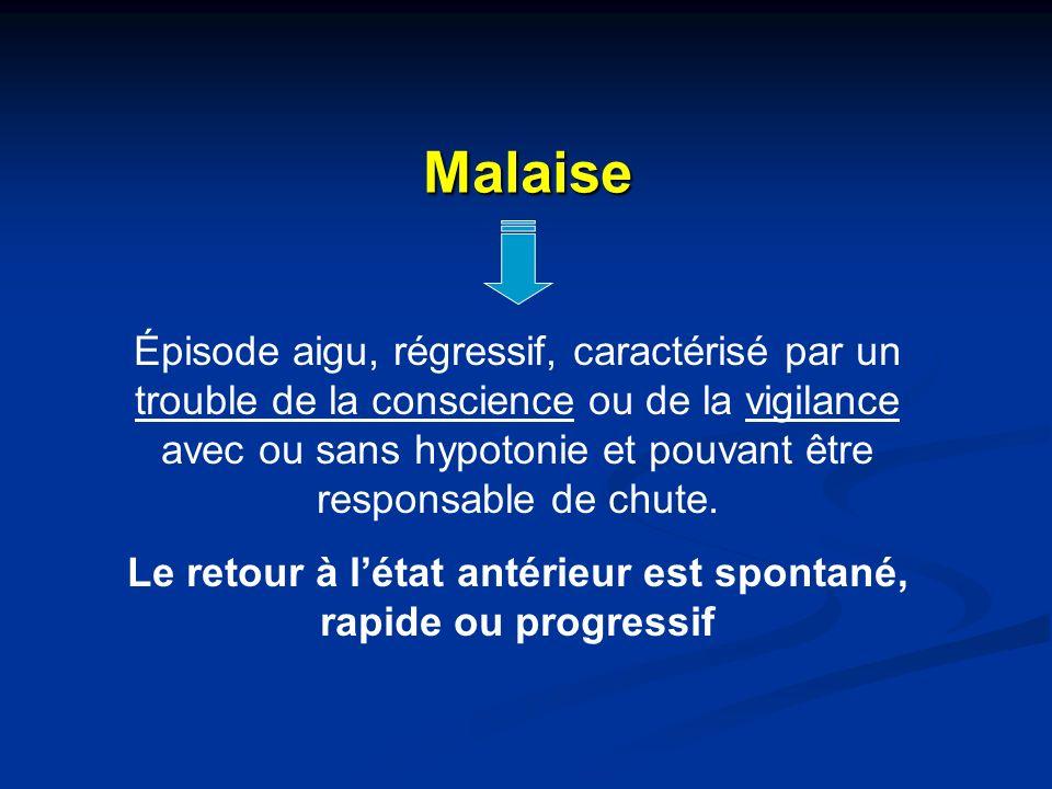 Malaise Épisode aigu, régressif, caractérisé par un trouble de la conscience ou de la vigilance avec ou sans hypotonie et pouvant être responsable de