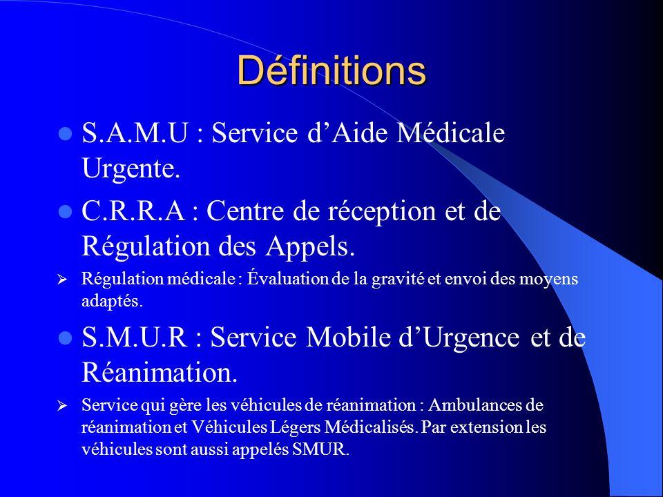 Définitions S.A.M.U : Service dAide Médicale Urgente. C.R.R.A : Centre de réception et de Régulation des Appels. Régulation médicale : Évaluation de l