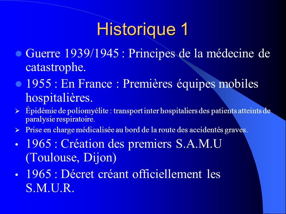 Historique 1 Guerre 1939/1945 : Principes de la médecine de catastrophe. 1955 : En France : Premières équipes mobiles hospitalières. Épidémie de polio