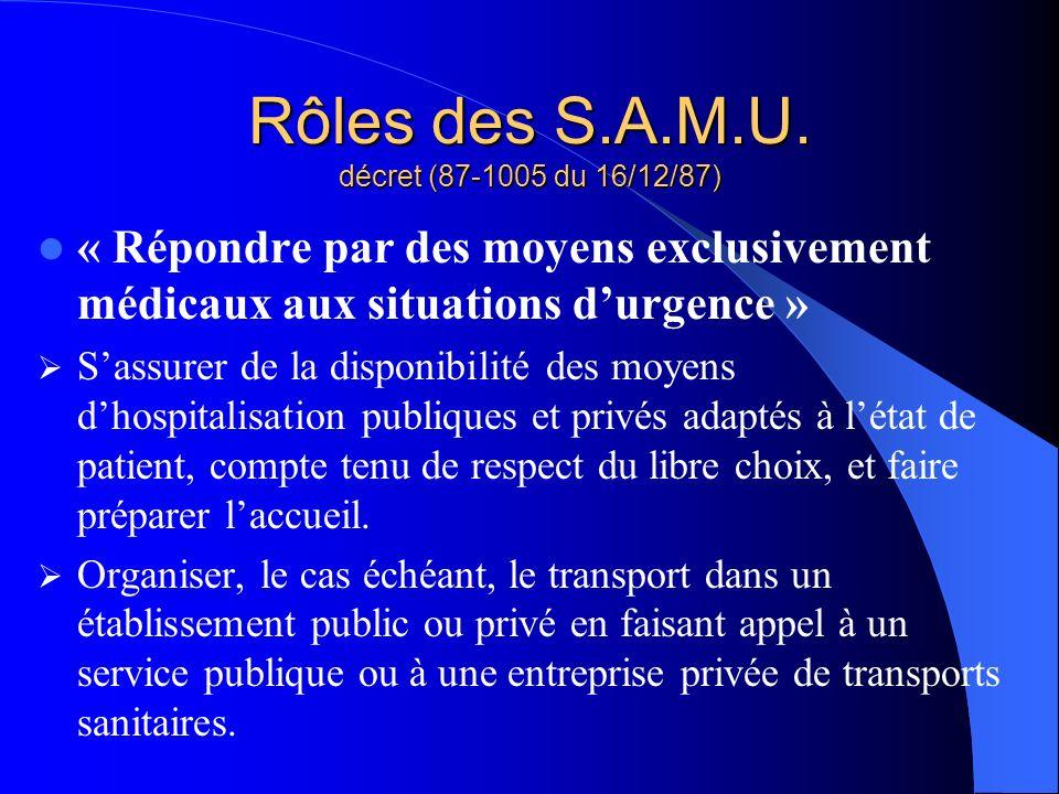 Rôles des S.A.M.U. décret (87-1005 du 16/12/87) « Répondre par des moyens exclusivement médicaux aux situations durgence » Sassurer de la disponibilit