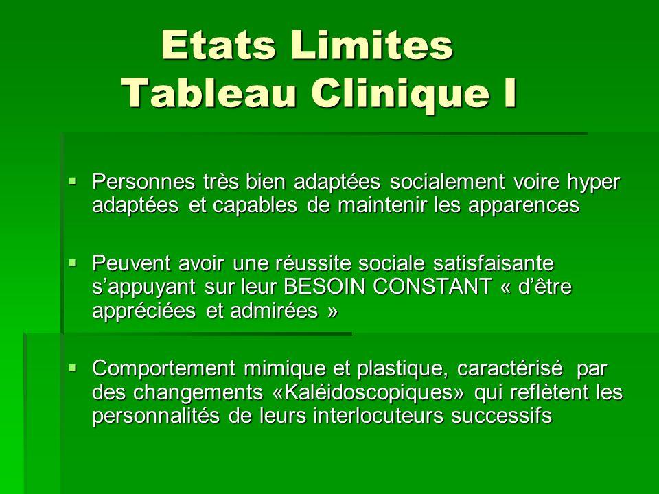 Etats Limites Tableau Clinique I Etats Limites Tableau Clinique I Personnes très bien adaptées socialement voire hyper adaptées et capables de mainten