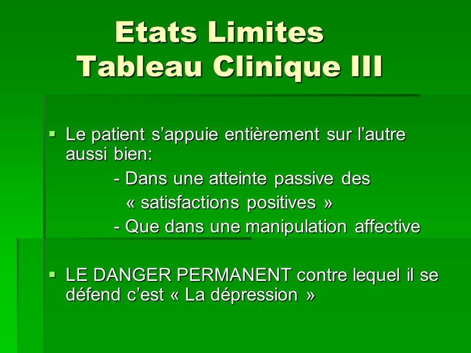 Etats Limites Tableau Clinique III Etats Limites Tableau Clinique III Le patient sappuie entièrement sur lautre aussi bien: Le patient sappuie entière