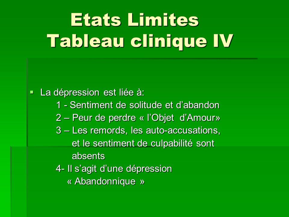 Etats Limites Tableau clinique IV Etats Limites Tableau clinique IV La dépression est liée à: La dépression est liée à: 1 - Sentiment de solitude et d
