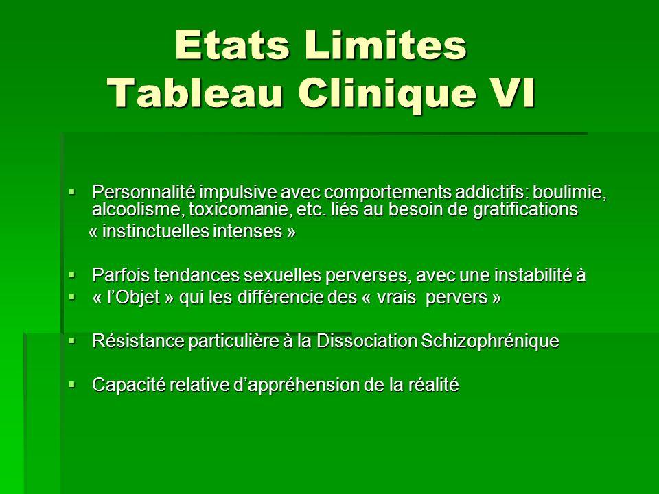 Etats Limites Tableau Clinique VI Etats Limites Tableau Clinique VI Personnalité impulsive avec comportements addictifs: boulimie, alcoolisme, toxicom