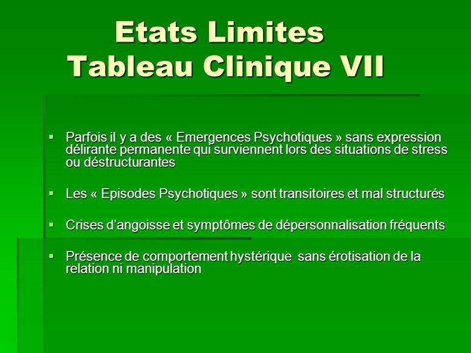 Etats Limites Tableau Clinique VII Etats Limites Tableau Clinique VII Parfois il y a des « Emergences Psychotiques » sans expression délirante permane