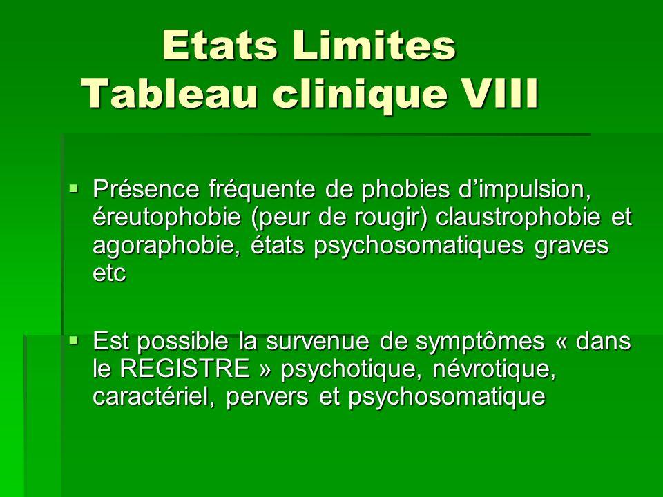 Etats Limites Tableau clinique VIII Etats Limites Tableau clinique VIII Présence fréquente de phobies dimpulsion, éreutophobie (peur de rougir) claust