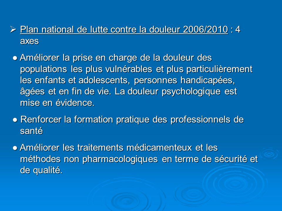 Plan national de lutte contre la douleur 2006/2010 : 4 axes Plan national de lutte contre la douleur 2006/2010 : 4 axes Améliorer la prise en charge d