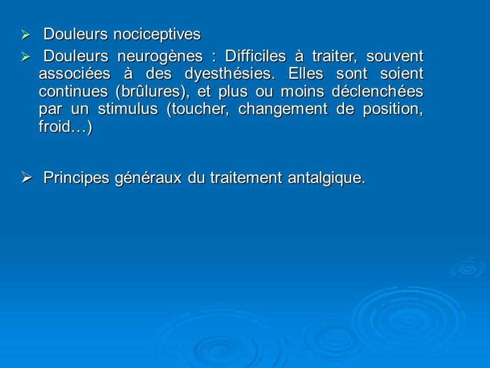 Douleurs nociceptives Douleurs nociceptives Douleurs neurogènes : Difficiles à traiter, souvent associées à des dyesthésies. Elles sont soient continu