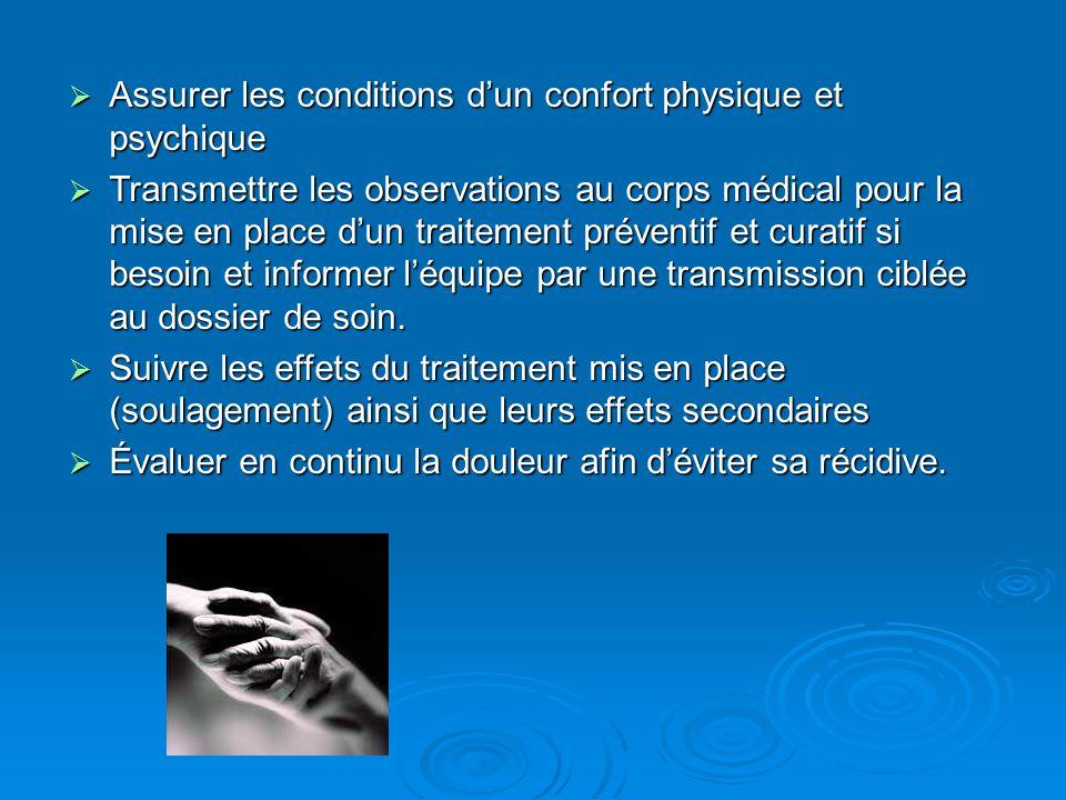 Assurer les conditions dun confort physique et psychique Assurer les conditions dun confort physique et psychique Transmettre les observations au corp