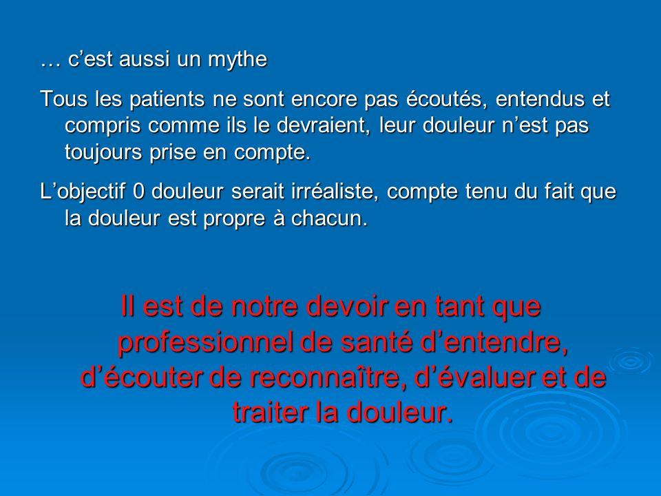 … cest aussi un mythe Tous les patients ne sont encore pas écoutés, entendus et compris comme ils le devraient, leur douleur nest pas toujours prise e