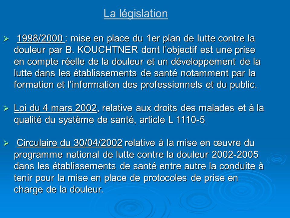 La législation 1998/2000 : mise en place du 1er plan de lutte contre la douleur par B. KOUCHTNER dont lobjectif est une prise en compte réelle de la d