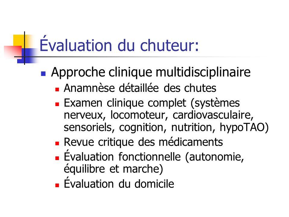 Évaluation du chuteur: Approche clinique multidisciplinaire Anamnèse détaillée des chutes Examen clinique complet (systèmes nerveux, locomoteur, cardi