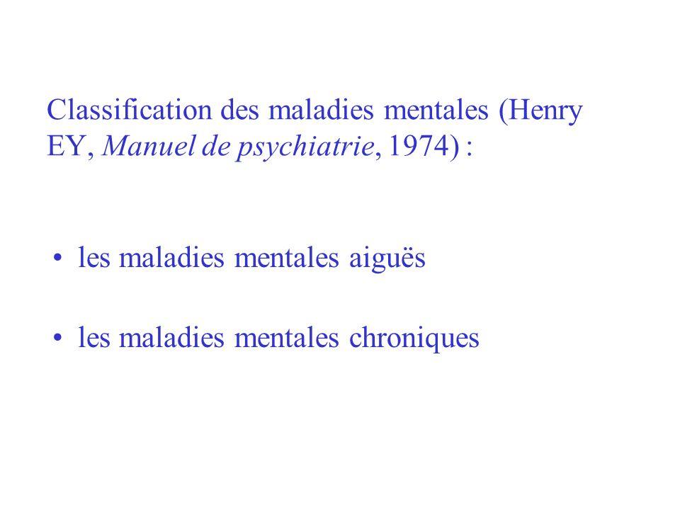 Classification des maladies mentales (Henry EY, Manuel de psychiatrie, 1974) : les maladies mentales aiguës les maladies mentales chroniques