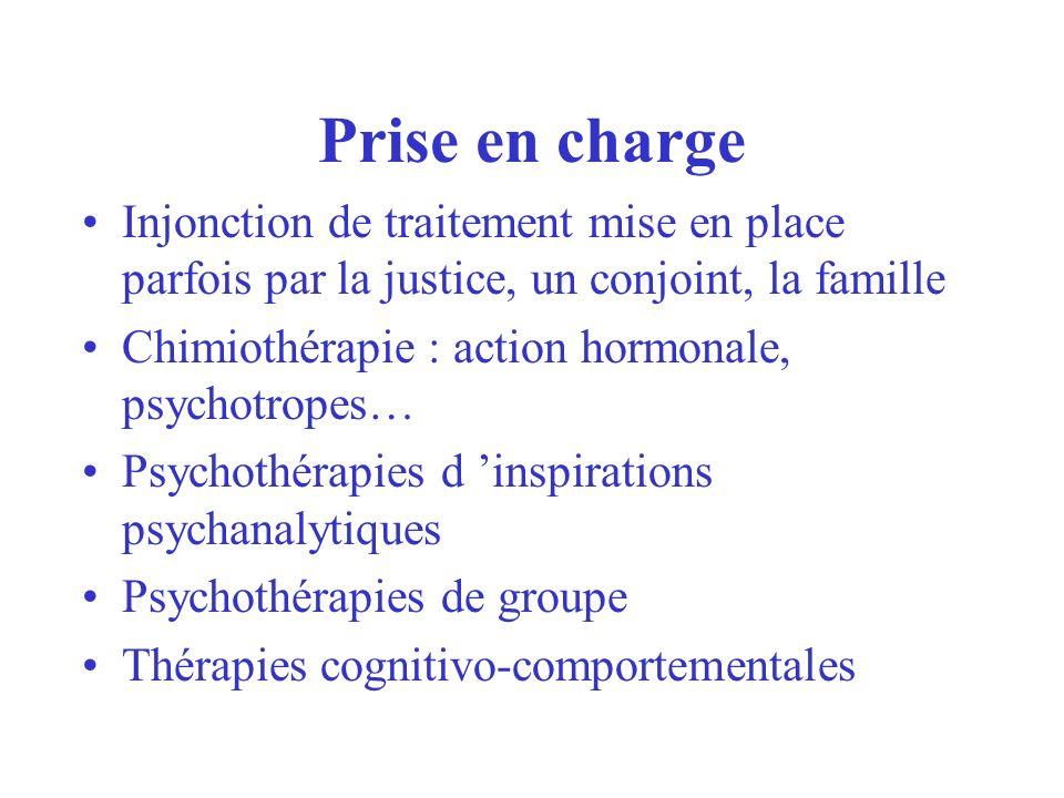 Prise en charge Injonction de traitement mise en place parfois par la justice, un conjoint, la famille Chimiothérapie : action hormonale, psychotropes