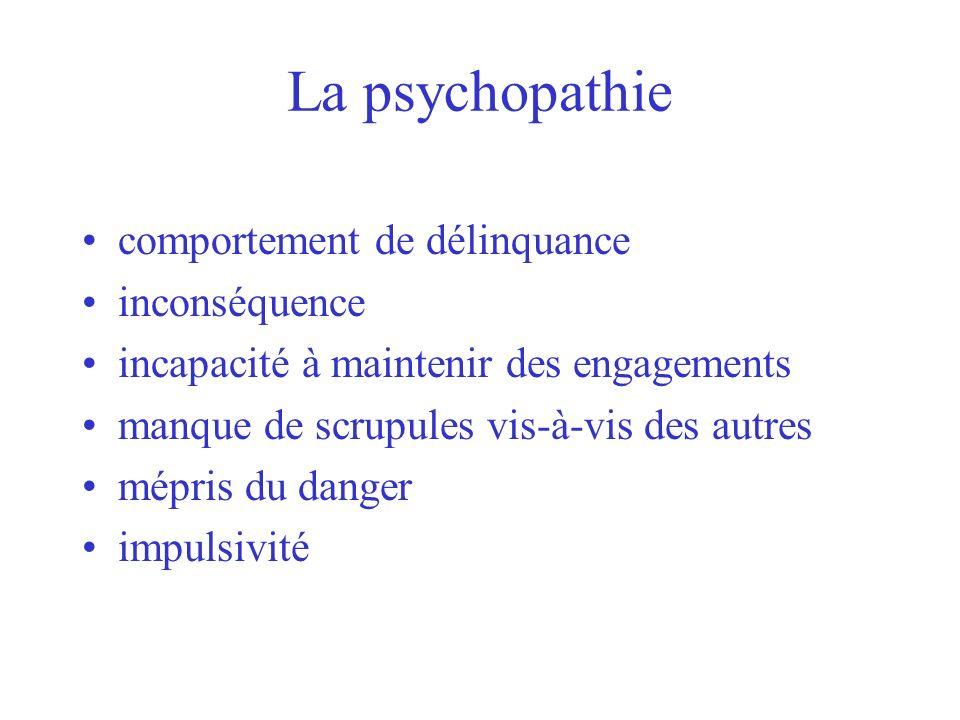 La psychopathie comportement de délinquance inconséquence incapacité à maintenir des engagements manque de scrupules vis-à-vis des autres mépris du da