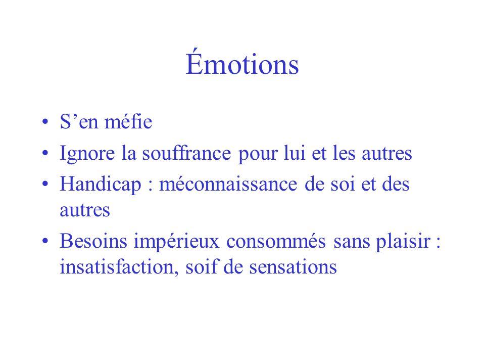 Émotions Sen méfie Ignore la souffrance pour lui et les autres Handicap : méconnaissance de soi et des autres Besoins impérieux consommés sans plaisir