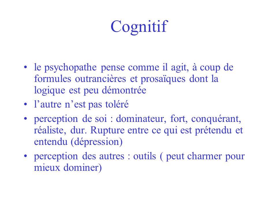 Cognitif le psychopathe pense comme il agit, à coup de formules outrancières et prosaïques dont la logique est peu démontrée lautre nest pas toléré pe