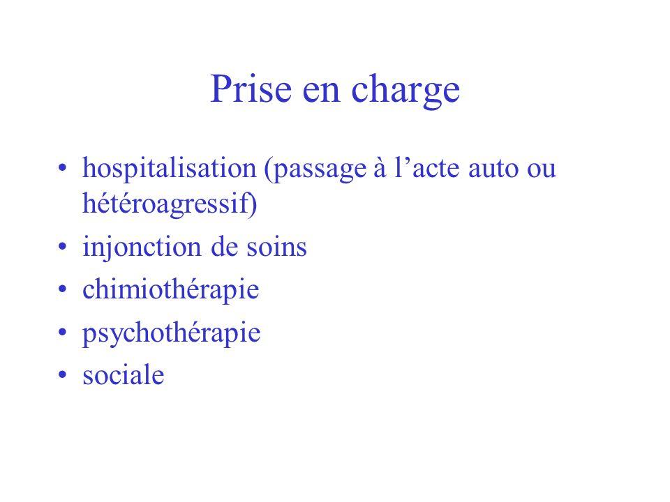 Prise en charge hospitalisation (passage à lacte auto ou hétéroagressif) injonction de soins chimiothérapie psychothérapie sociale