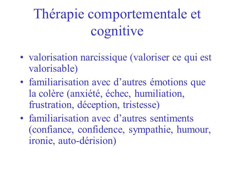 Thérapie comportementale et cognitive valorisation narcissique (valoriser ce qui est valorisable) familiarisation avec dautres émotions que la colère