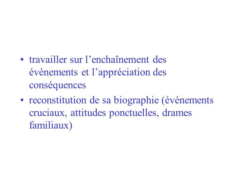 travailler sur lenchaînement des événements et lappréciation des conséquences reconstitution de sa biographie (événements cruciaux, attitudes ponctuel