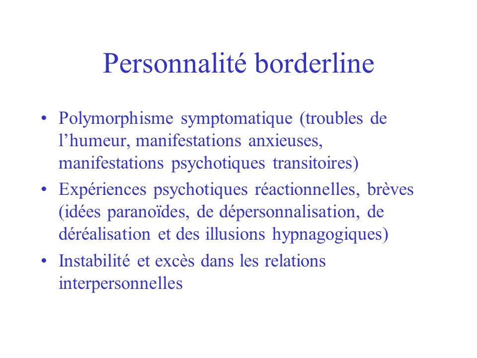Personnalité borderline Polymorphisme symptomatique (troubles de lhumeur, manifestations anxieuses, manifestations psychotiques transitoires) Expérien