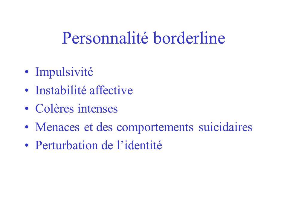 Personnalité borderline Impulsivité Instabilité affective Colères intenses Menaces et des comportements suicidaires Perturbation de lidentité