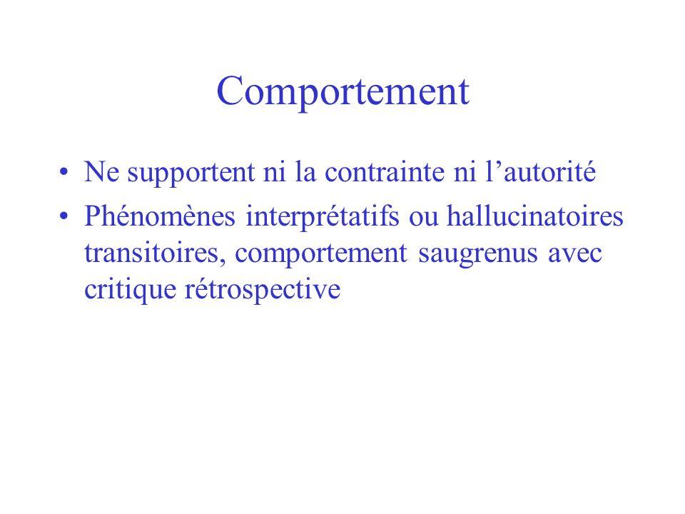 Comportement Ne supportent ni la contrainte ni lautorité Phénomènes interprétatifs ou hallucinatoires transitoires, comportement saugrenus avec critiq