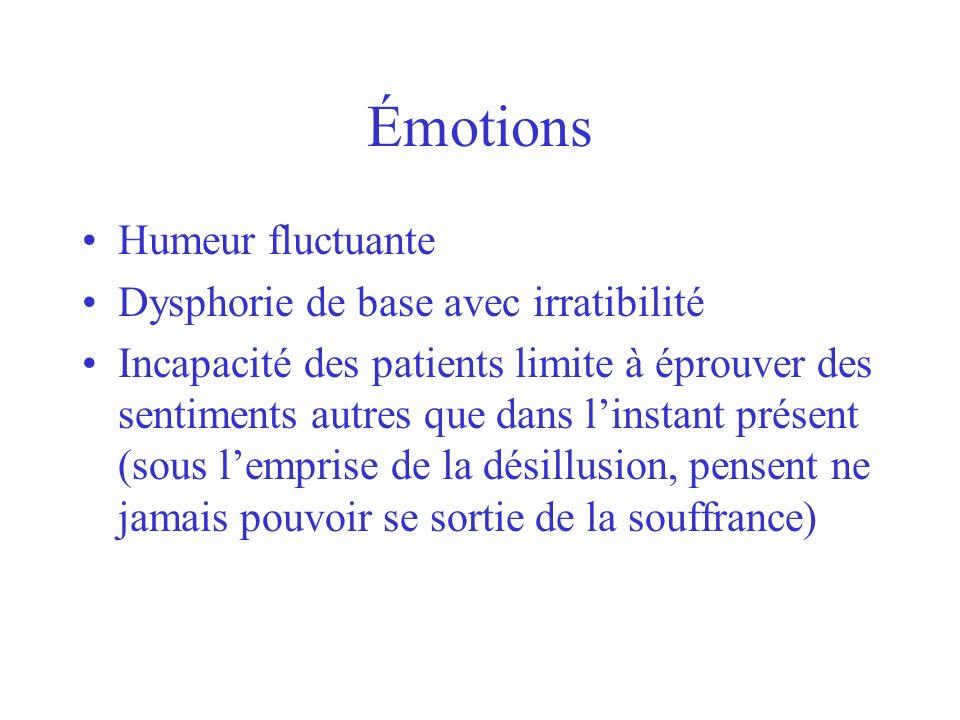 Émotions Humeur fluctuante Dysphorie de base avec irratibilité Incapacité des patients limite à éprouver des sentiments autres que dans linstant prése