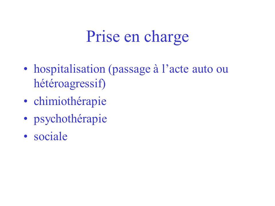 Prise en charge hospitalisation (passage à lacte auto ou hétéroagressif) chimiothérapie psychothérapie sociale