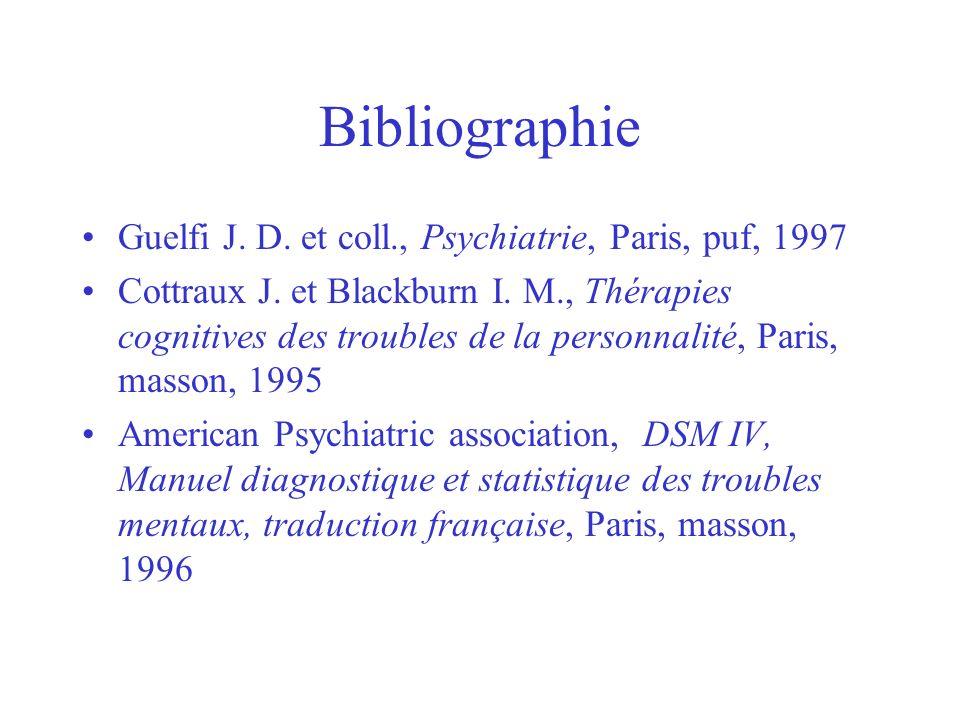 Bibliographie Guelfi J. D. et coll., Psychiatrie, Paris, puf, 1997 Cottraux J. et Blackburn I. M., Thérapies cognitives des troubles de la personnalit