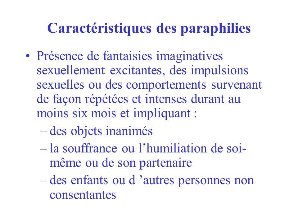 Caractéristiques des paraphilies Présence de fantaisies imaginatives sexuellement excitantes, des impulsions sexuelles ou des comportements survenant