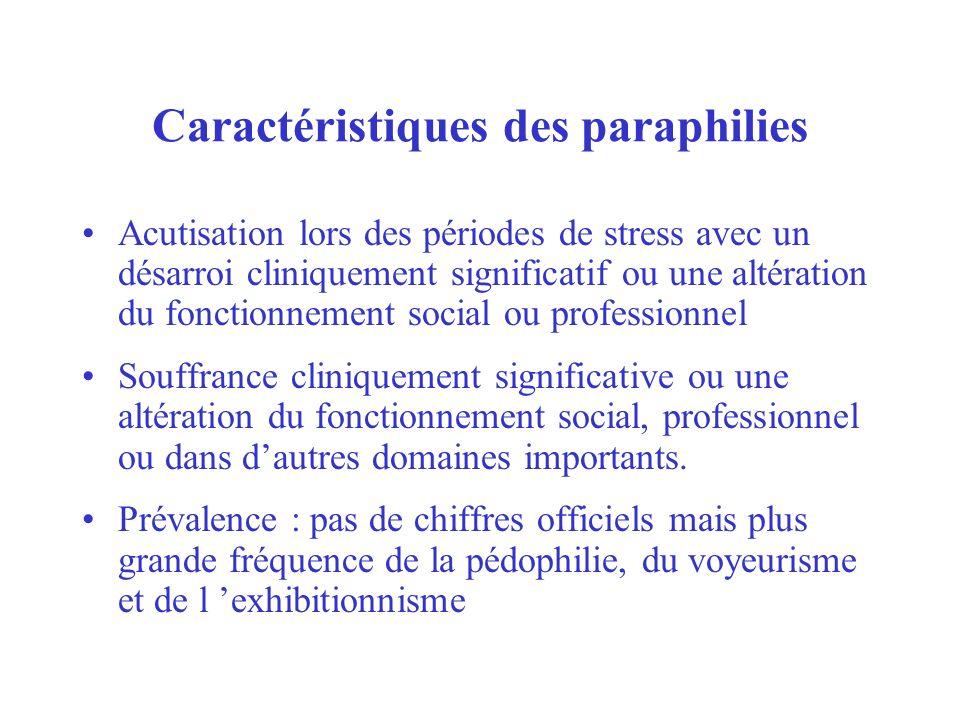 Caractéristiques des paraphilies Acutisation lors des périodes de stress avec un désarroi cliniquement significatif ou une altération du fonctionnemen
