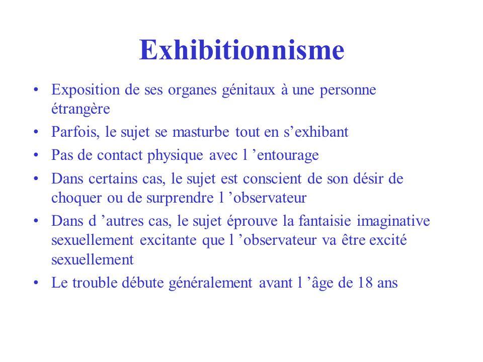 Exhibitionnisme Exposition de ses organes génitaux à une personne étrangère Parfois, le sujet se masturbe tout en sexhibant Pas de contact physique av
