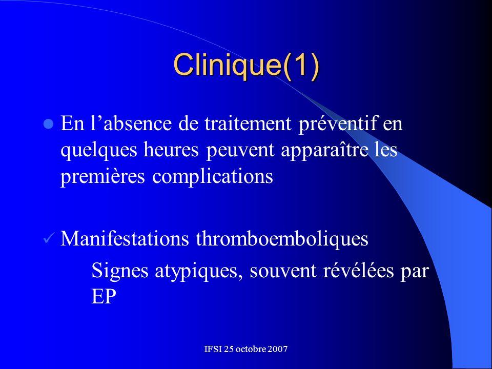 IFSI 25 octobre 2007 Clinique(1) En labsence de traitement préventif en quelques heures peuvent apparaître les premières complications Manifestations