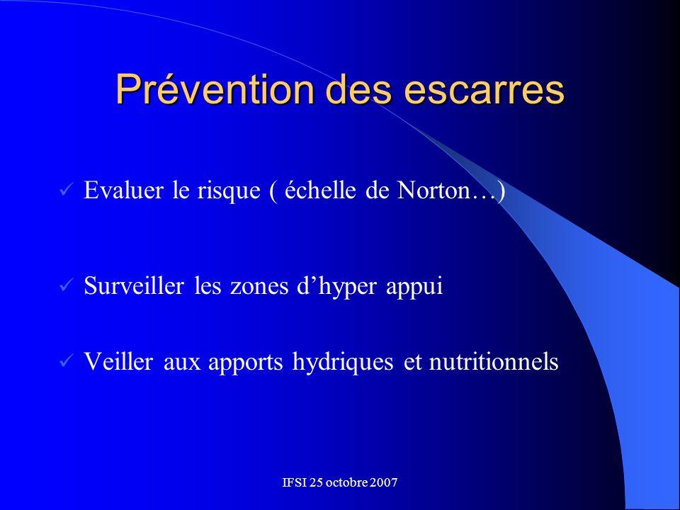 Prévention des escarres Evaluer le risque ( échelle de Norton…) Surveiller les zones dhyper appui Veiller aux apports hydriques et nutritionnels