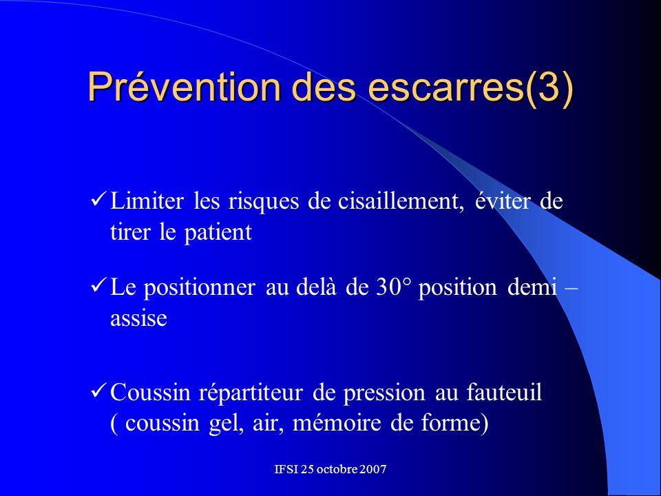 IFSI 25 octobre 2007 Prévention des escarres(3) Limiter les risques de cisaillement, éviter de tirer le patient Le positionner au delà de 30° position