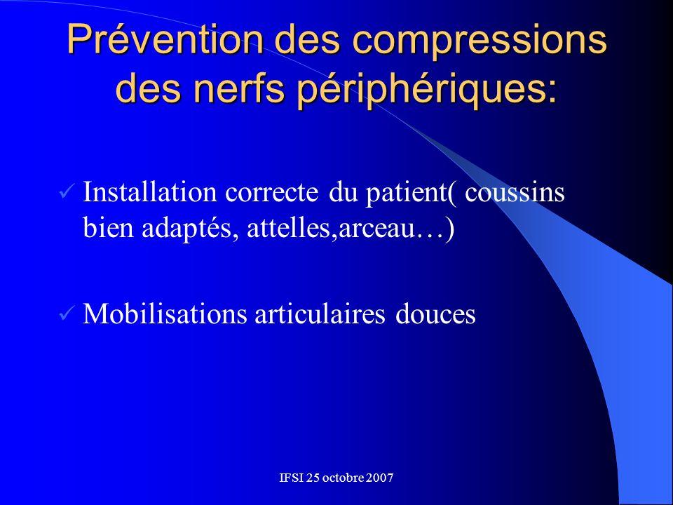 IFSI 25 octobre 2007 Prévention des compressions des nerfs périphériques: Installation correcte du patient( coussins bien adaptés, attelles,arceau…) M