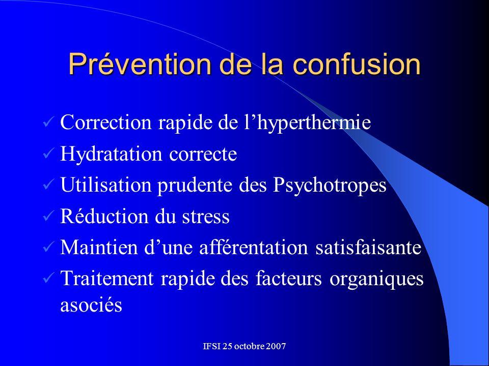 IFSI 25 octobre 2007 Prévention de la confusion Correction rapide de lhyperthermie Hydratation correcte Utilisation prudente des Psychotropes Réductio