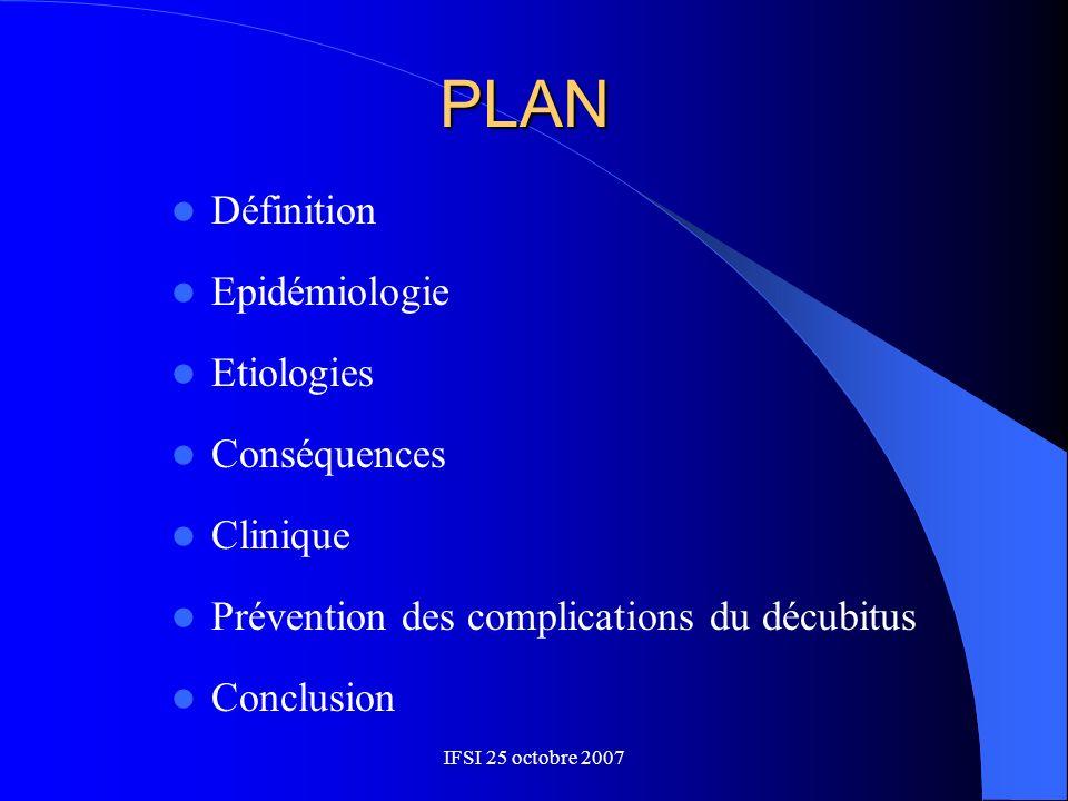 PLAN Définition Epidémiologie Etiologies Conséquences Clinique Prévention des complications du décubitus Conclusion